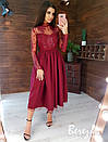 Платье миди с пышной фатиновой юбкой и кружевным верхом с длинным рукавом 66py357Е, фото 4