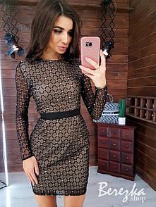 Платье футляр из сетки с блестками на подкладе с длинным рукавом 66py359Е