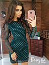 Платье футляр из сетки с блестками на подкладе с длинным рукавом 66py359Е, фото 4