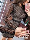 Платье футляр из сетки с блестками на подкладе с длинным рукавом 66py359Е, фото 6