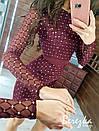 Платье футляр из сетки с блестками на подкладе с длинным рукавом 66py359Е, фото 7