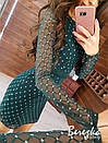 Платье футляр из сетки с блестками на подкладе с длинным рукавом 66py359Е, фото 9