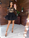 Платье с фатиновой пышной юбкой и кружевным верхом с длинным рукавом 66py361Е, фото 2