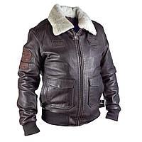 Мужская куртка пилот AIRBUS кожаная темно-коричневая