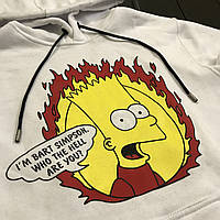 ТОП! Кофта худи зимняя Bart Simpson X white на флисе
