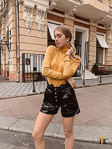 Лаковые кожаные женские черные шорты на резинке 3si1330