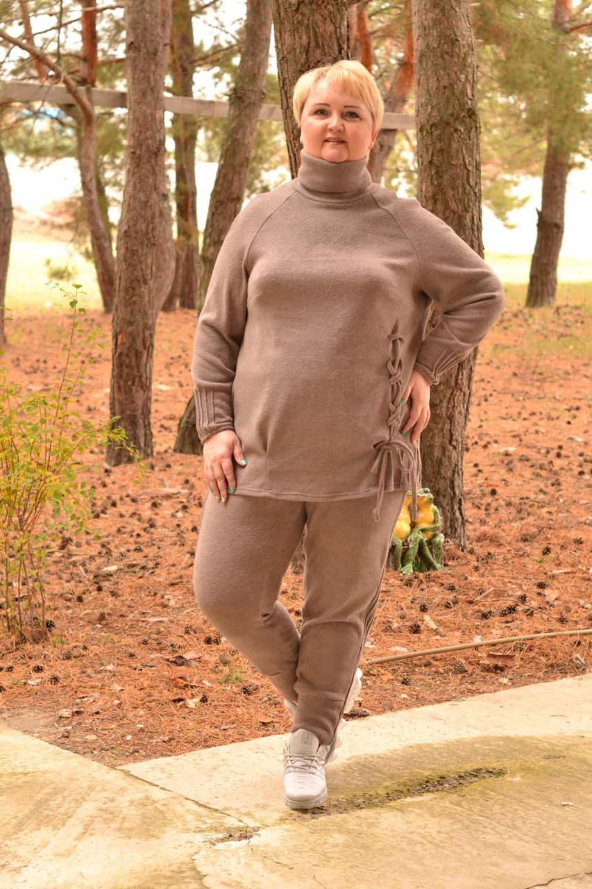 Ангоровый женский костюм в больших размерах со шнуровкой по бокам 10ba362