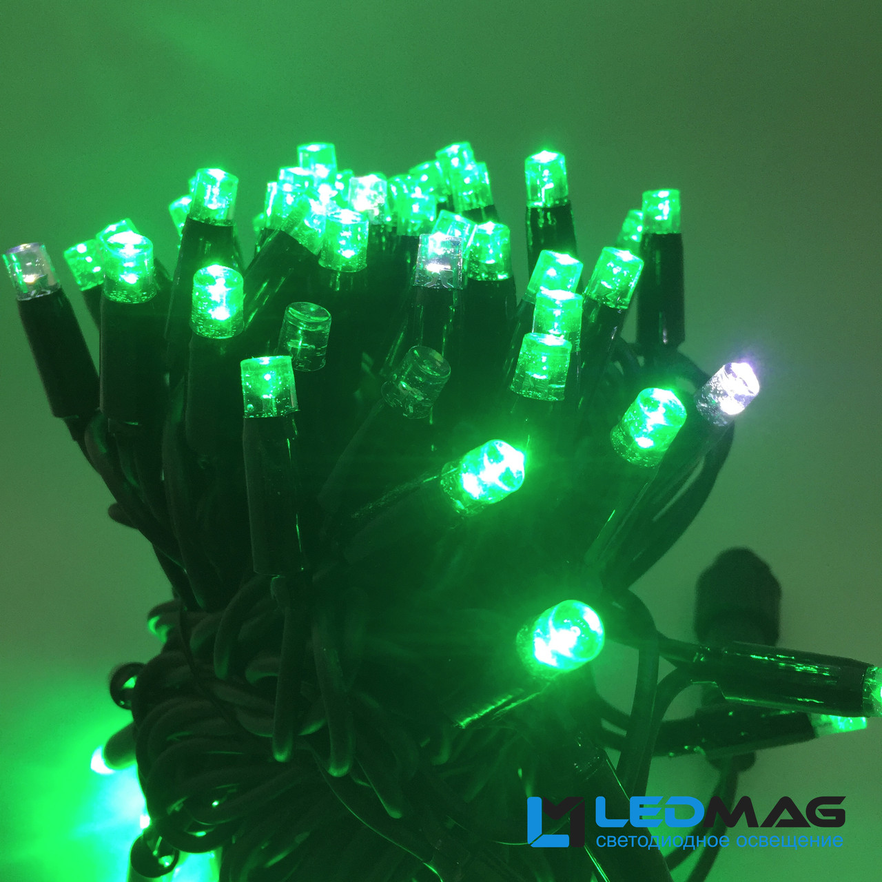 Светодиодная гирлянда String Нить flash 10м 100LED Каучук PROF Зеленый