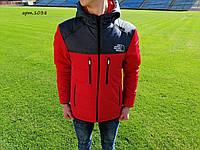 Куртка чоловіча в стилі   The North Face червона із сірим (ТОП Якість)