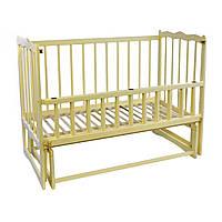 Кроватка детская деревянная для новорожденных Сон с маятником и откидным бортиком Ольха слоновая кость