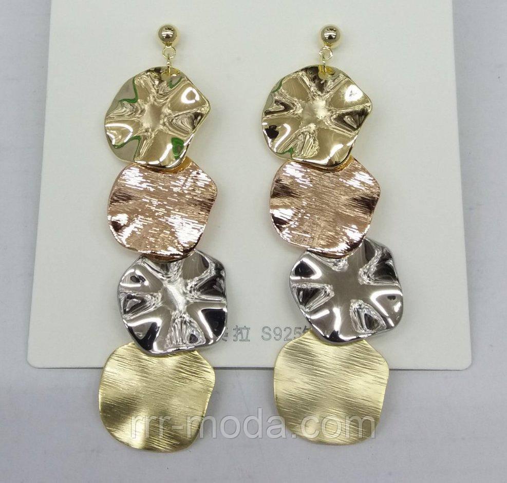 Волнистые круглые серьги под золото. Стильные украшения оптом RRR. 508