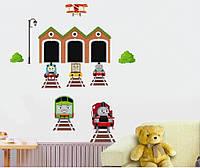 Детская интерьерная наклейка на стену или окно - декоративная наклейка Паровозик Томас