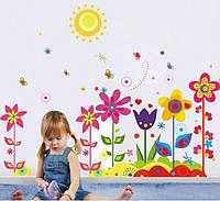 Детская интерьерная наклейка на стену или окно - декоративная наклейка Цветы и солнышко