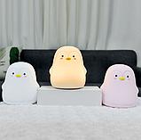 Силиконовый ночник Пингвин Розовый, фото 3