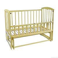 Кроватка детская деревянная для новорожденных Спим с маятником и откидным бортиком Ольха слоновая кость