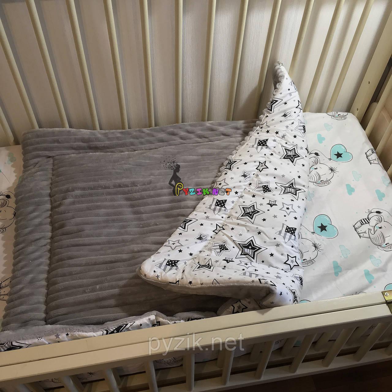 Плюшевый плед Minky с хлопковой подкладкой, светло-серый