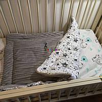Плюшевый плед Minky с хлопковой подкладкой, светло-серый, фото 1