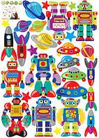 Детские интерьерные наклейки на стену или окно - декоративная наклейка Космос Роботы НЛО