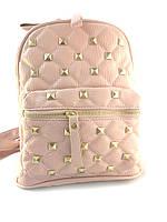 Рюкзак женский стеганый с заклепками розовый