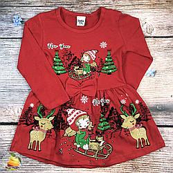 Сукня, новорічної тематики, з довгим рукавом для дівчинки Розміри: 86,92,98,104,110 см (9288)