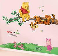 Детские интерьерные наклейки на стену или окно - декоративная наклейка Винни Пух