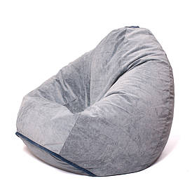 Кресло мешок груша XXL | флок Jaguar  серый