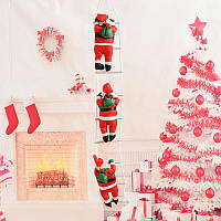 Новогодний декор Санта Клаус на лестнице (3 фигурки- по 25 см) с Led подсветкой