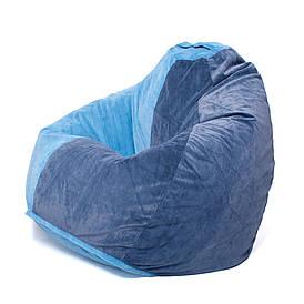 Кресло мешок груша XXL | флок Jaguar  комби сине-голубой