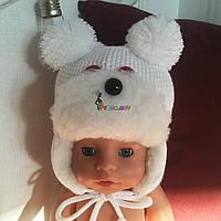 """Зимняя теплая шапочка """"Мишка"""" на меху для новорожденного, цвет на выбор"""