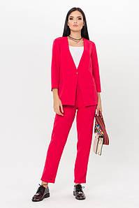 Женский классический красный однотонный женский костюм: жакет на одну пуговицу и зауженные брюки