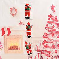 Новогодний декор Санта Клаус на лестнице (3 фигурки- по 35 см) с Led подсветкой