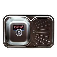 Врезная кухонная мойка Platinum 75*49 (мм) в покрытии Satin(матовая), с толщиной 0,8 (мм)