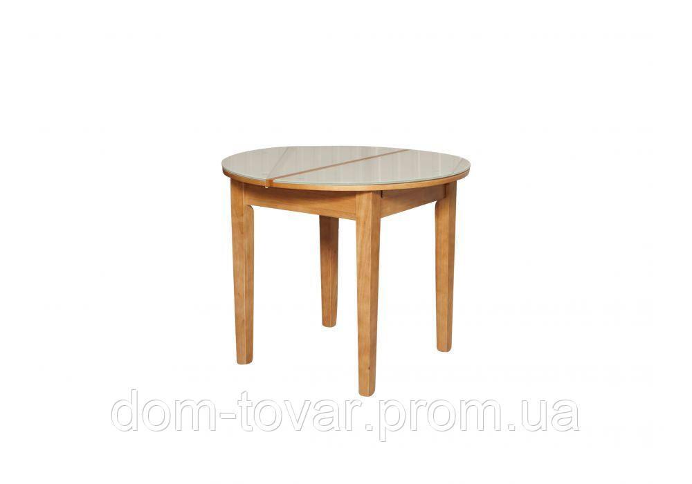 Стол обеденный ED02 ольха/стекло белое