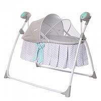 Электронные качели люлька кроватка для новорожденных 3 в 1 CARRELLO DOLCE LINE GREY от 0 до 9 месяцев