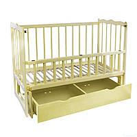 Кроватка детская классическая для новорожденных Сон с маятником и ящиком откидным бортом Ольха слоновая кость