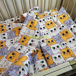 Постельный набор в детскую кроватку (3 предмета) Котики оранжевые