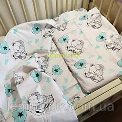 Постельный набор в детскую кроватку (3 предмета) Слоники