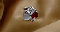 """Кольцо женское """"Куб-7"""",с красным камнем."""