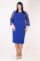 Яркое нарядное платье с гипюровыми вставками Альбина батал