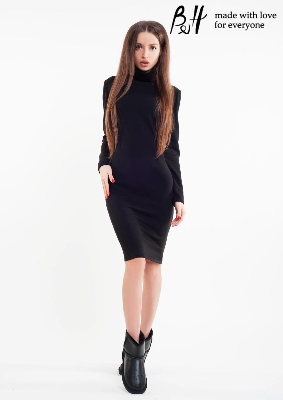 Женское классическое ангоровое платье-футляр миди с 40 по 46рр, 6 цветов 40, черное