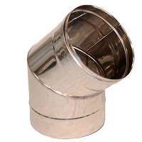 Колено 45* d 130 мм; 0,6 мм из нержавеющей стали (AISI 304) Версия-Люкс