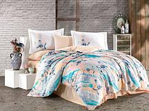 Постельное белье Евро комплект HOBBY сатин Exclusive Sateen Brisha бирюзовый