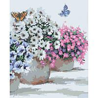 """Картина по номерам Цветы """"Цветы в горшочках"""" 40x50 см"""