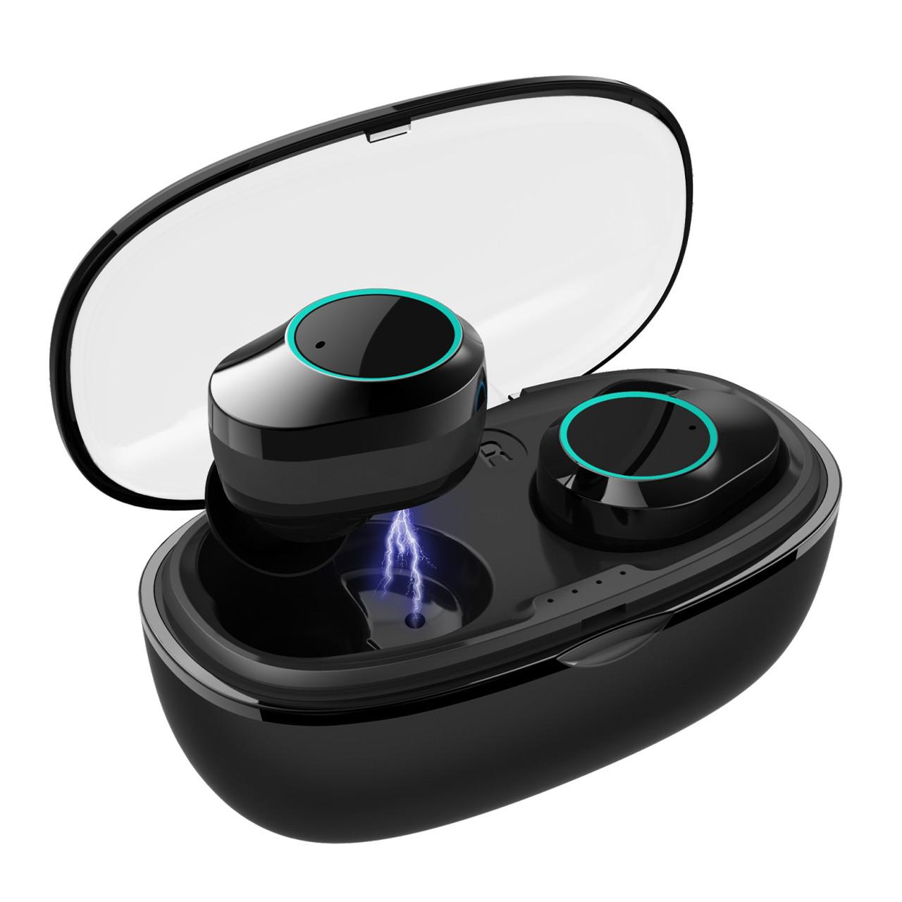 ϞБеспроводная Bluetooth гарнитура KUMI T5S Black Блютуз 5.0 влагозащищенная сенсорная с зарядным кейсом