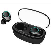 ϞБеспроводная Bluetooth гарнитура KUMI T5S Black Блютуз 5.0 влагозащищенная сенсорная с зарядным кейсом, фото 2