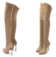 Ботфорты женские осень-зима,2 вида замша-кожа натуральные, каблук шпилька 3 цвета, фото 1