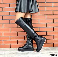 Зимние кожаные сапоги ботфорты 36-41 р чёрный