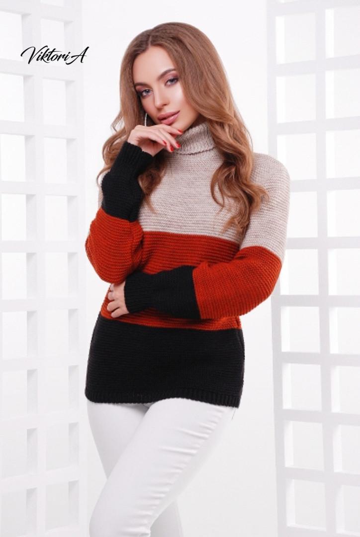 Женский трехцветный свитер с высоким воротником и шерстью в составе 81ddet701