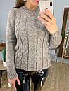 Женский теплый свитер с узорной вязкой и вырезом под горло 33ddet703, фото 2