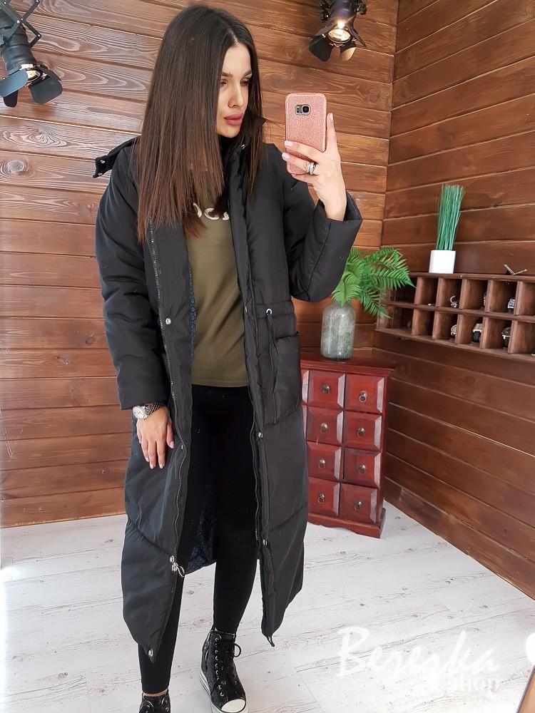 Женское плащевое зимнее Пальто с капюшоном и карманами 66pal261Е